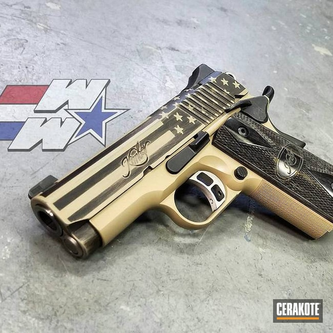 Cerakoted: Pistol,American Flag,Wickedworn,Wicked Weaponry,SHOT,Old Glory,Graphite Black H-146,Kimber,Desert Sand H-199,Distressed American Flag,Gun Coatings,1911,Stars and Stripes