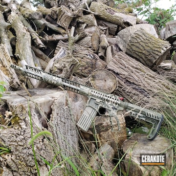 Cerakoted Battleworn F1 Firearms Rifle With A Cerakote H-199 And H-240 Finish