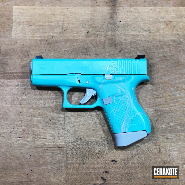 Cerakoted: Custom Mix,SHOT,Filigree,Robin's Egg Blue H-175,Stormtrooper White H-297,Crushed Silver H-255,Pistol,Glock,Gun Coatings,Stencil,Glock 43