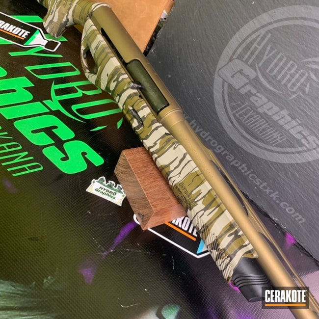 "Thumbnail image for project ""Shotgun with a Cerakote Burnt Bronze and Hydro Dip Finish"""
