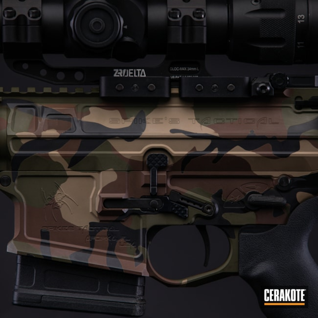 Spike's Tactical AR with a Cerakote Woodland Camo Finish