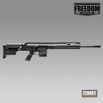 Cerakoted Fn Scar Rifle With A Cerakote Graphite Black And Clear Finish