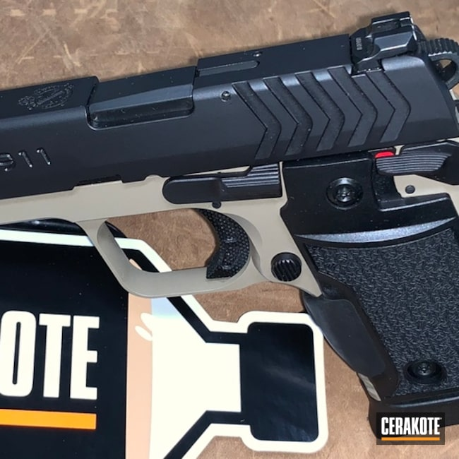 "Thumbnail image for project ""Springfield 911 Handgun with Cerakote Armor Black and Coyote Tan"""