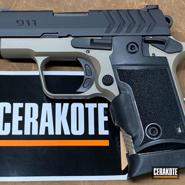 Cerakoted: S.H.O.T,Coyote Tan H-235,Springfield 911,Two Tone,Armor Black H-190,Pistol,Springfield Armory,Gun Coatings