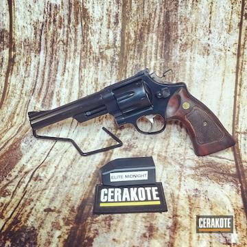 Cerakoted Smith & Wesson 44 Magnum Revolver Cerakoted In E-110 Midnight
