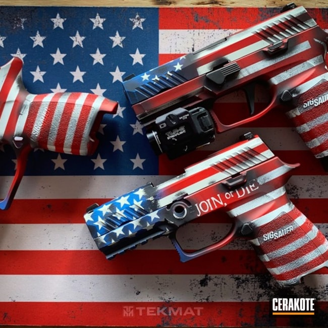 Sig Sauer Handguns in with a Cerakote American Flag Finish