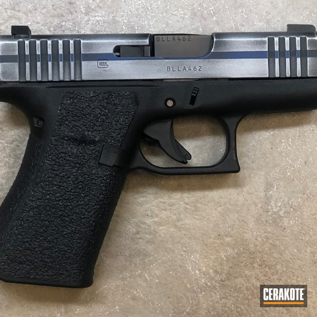 Glock 43 Handgun with a Cerakote Thin Blue Line Finish