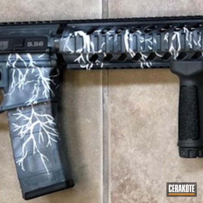 AR-15 Rifle with a Custom Mixed Cerakote Lightning Finish