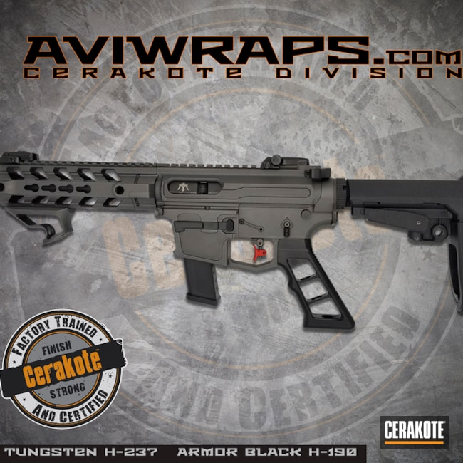 Cerakoted: SHOT,Custom,Cerakote,Tungsten H-237,Armor Black H-190,Tactical Rifle,Gun Coatings,AR9