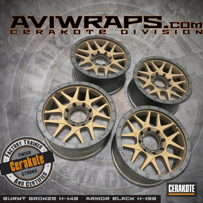 "Thumbnail image for project ""Two Toned Wheels in Cerakote H-190 and H-148"""