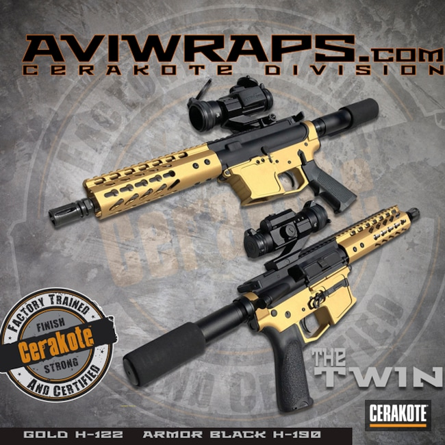 "Thumbnail image for project ""AR9 Rifle with a Two Toned Cerakote Black and Gold Finish"""
