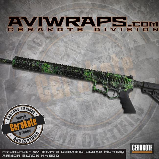 Cerakoted: SHOT,Skeletonized,Cerakote + Hydro Dip,Toxic,Cerakote,MATTE CERAMIC CLEAR MC-161,Armor Black H-190,Tactical Rifle,Green,Gun Coatings,Guns,AR-15