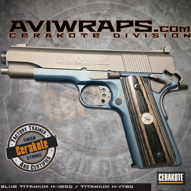 Cerakoted: SHOT,Custom,Cerakote,Two Tone,Colt,Titanium H-170,Pistol,Gun Coatings,1911,Handguns,Blue Titanium H-185