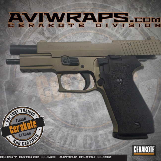 "Thumbnail image for project ""Sig Sauer P220 Handgun with a Cerakote Burnt Bronze and Armor Black Finish"""