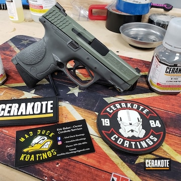 Cerakoted Two Toned Smith & Wesson Handgun In Cerakote Elite Jungle And Concrete