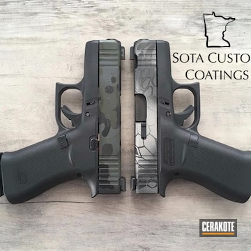 Cerakoted Pair Of Glocks With A H-146 Graphite Black Base Finish