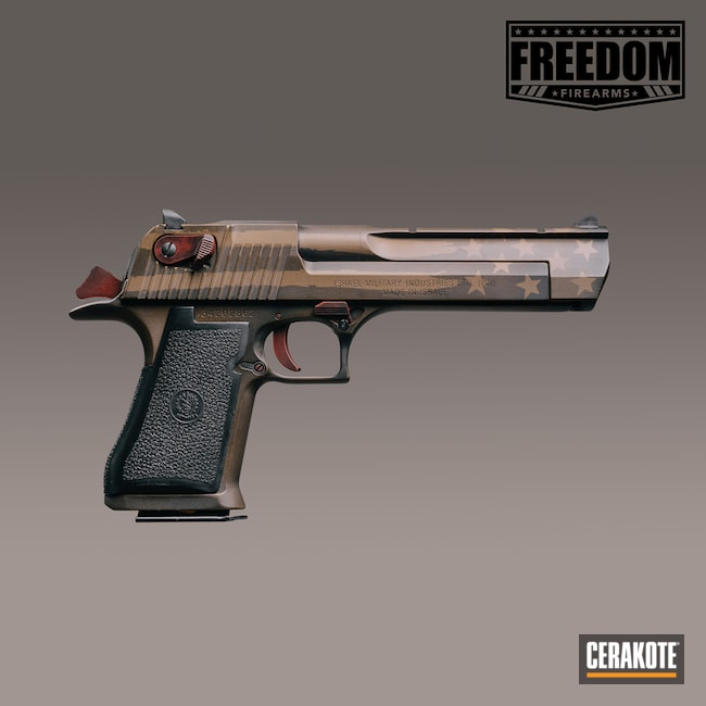 Cerakoted: S.H.O.T,Desert Eagle,Graphite Black H-146,Distressed,Crimson H-221,Burnt Bronze H-148,Pistol,American Flag,IWI,Gun Coatings