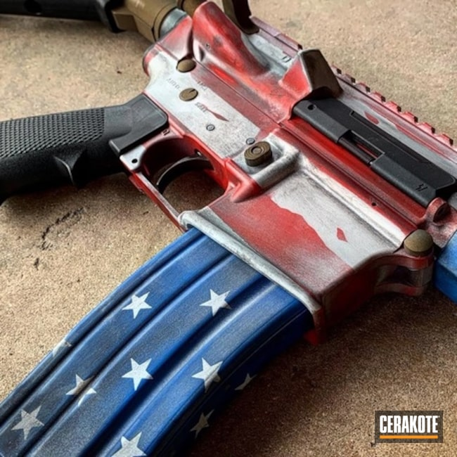 Cerakoted: S.H.O.T,USMC Red H-167,Tactical Rifle,American Flag,Patriotic,NRA Blue H-171,Battleworn,Graphite Black H-146,Stormtrooper White H-297,Distressed American Flag,Burnt Bronze H-148,Satin Aluminum H-151,Gun Coatings,Stars and Stripes,AR-15