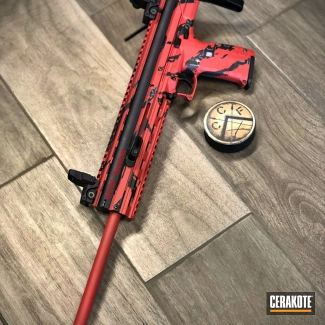 Cerakoted: SHOT,Tiger Stripes,Graphite Black H-146,KelTec,BATTLESHIP GREY H-213,Tactical Rifle,Gun Coatings,SMITH & WESSON® RED H-216,Red Tigerstripe