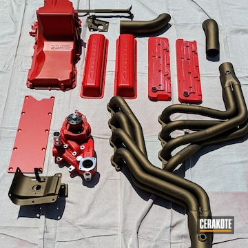 Cerakoted Chevy Engine And Exhaust Parts With Cerakote Stoplight Red Finish