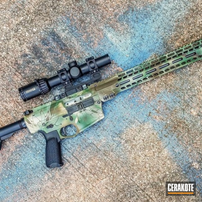 AR-10 with a Cerakote Kryptek Camo Finish