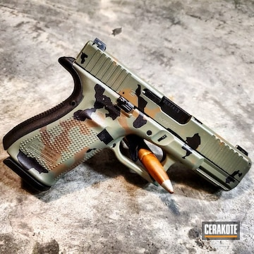 Cerakoted Glock 19 Handgun With Custom Cerakote Elite Woodland Camo Finish
