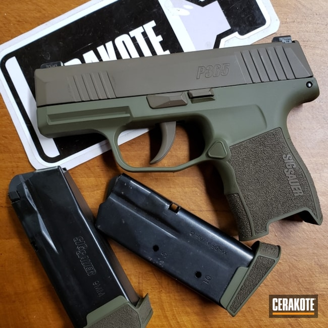 Mobile-friendly version of the 3rd project picture. Sig Sauer, Two Tone, Pistol, SHOT, Patriot Brown H-226Q, Sniper Green H-229Q, Sig Sauer P365, Gun Coatings