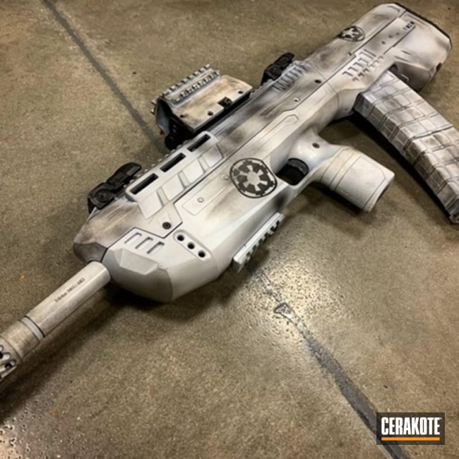 Mobile-friendly version of the 5th project picture. Graphite Black H-146Q, Stormtrooper, Star Wars, Battleworn, Stencil, Tactical Rifle, SHOT, Stormtrooper White H-297Q, Gun Coatings