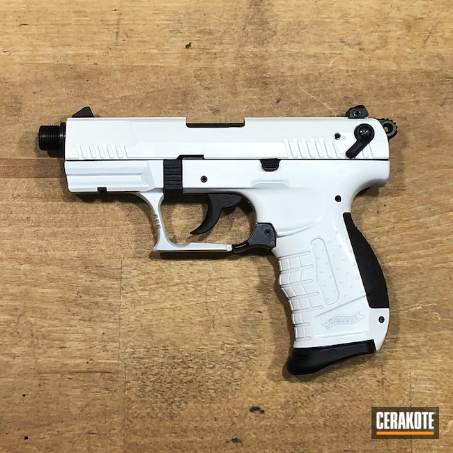 Cerakoted: S.H.O.T,Walther,Black & White,Two Tone,Stormtrooper White H-297,Walther P22,MATTE ARMOR CLEAR H-301,Pistol,Gun Coatings,Black and White