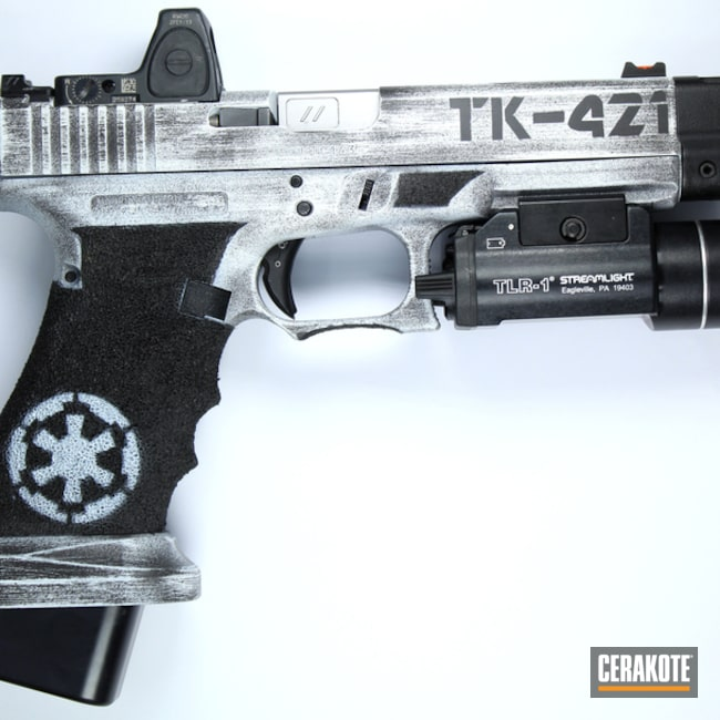 Cerakoted: S.H.O.T,Stormtrooper,Graphite Black H-146,Stormtrooper White H-297,Galactic Empire,Stippled,Pistol,Star Wars Theme,Glock,Trijicon,Gun Coatings,Streamlight