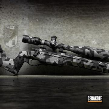 Cerakoted Remington 700 Bolt Action Rifle With A Cerakote Splinter Camo Finish