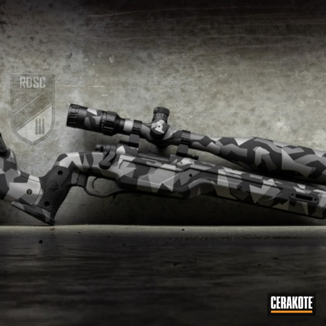 Cerakoted: S.H.O.T,Bolt Action Rifle,Cadex Defence,Tungsten H-237,Armor Black H-190,Titanium H-170,Splinter Camo,Remington,Gun Coatings,Remington 700