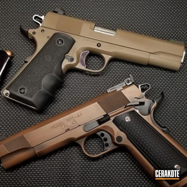Cerakoted: S.H.O.T,Tactical,.45 ACP,Armor Black H-190,Gun Coatings,1911,Flat Dark Earth H-265,Copper Brown H-149,Pistols