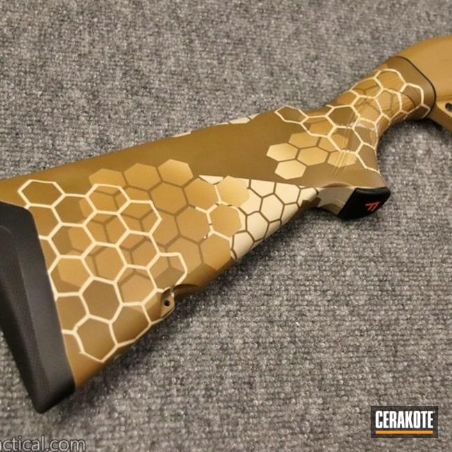 Cerakoted: S.H.O.T,Noveske Tiger Eye Brown H-187,FS BROWN SAND H-30372,Shotgun,FS FIELD DRAB H-30118,12 Gauge,Hextek Pattern,Honeycomb,Gun Coatings,Franchi Affinity,FS Sabre Sand H-33446
