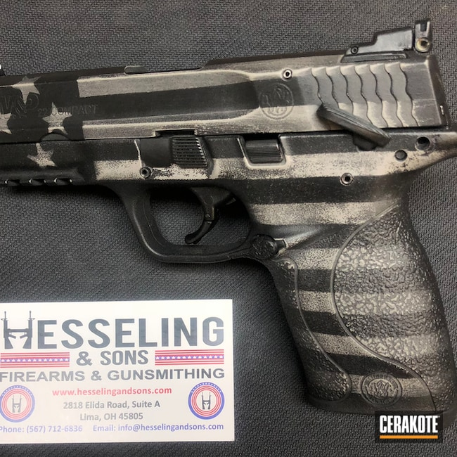 Smith & Wesson in a Cerakote Battleworn American Flag Finish