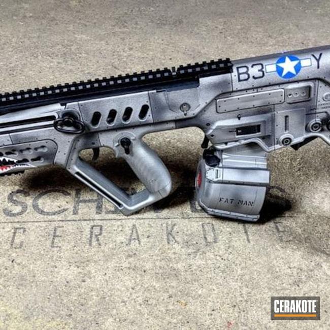 Cerakoted: S.H.O.T,P40,IWI Tavor,Tactical Rifle,WW2 Mustang Gun,P51 Mustang,NRA Blue H-171,P51 Mustang WW2 Paint Scheme,Graphite Black H-146,Airplane,America,Titanium H-170,IWI,Gun Coatings,Bomber