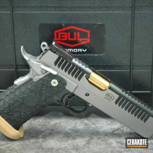 Cerakoted: S.H.O.T,Midnight Blue H-238,Bul Armory,Pistol,Titanium H-170,Gun Coatings,Gold H-122