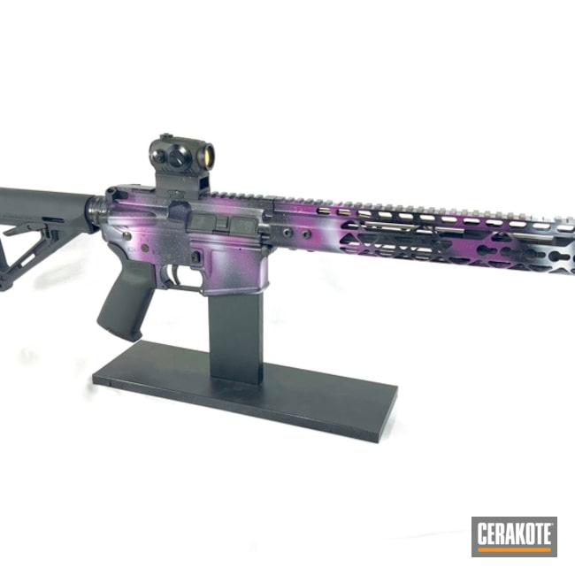 Cerakoted: S.H.O.T,Galaxy Camo,Wild Purple H-197,Tactical Rifle,HIGH GLOSS ARMOR CLEAR H-300,Bright White H-140,Out of this World,M16,Graphite Black H-146,Spikes Receiver,Full Auto,Galactic Empire,Gun Coatings,Galaxy