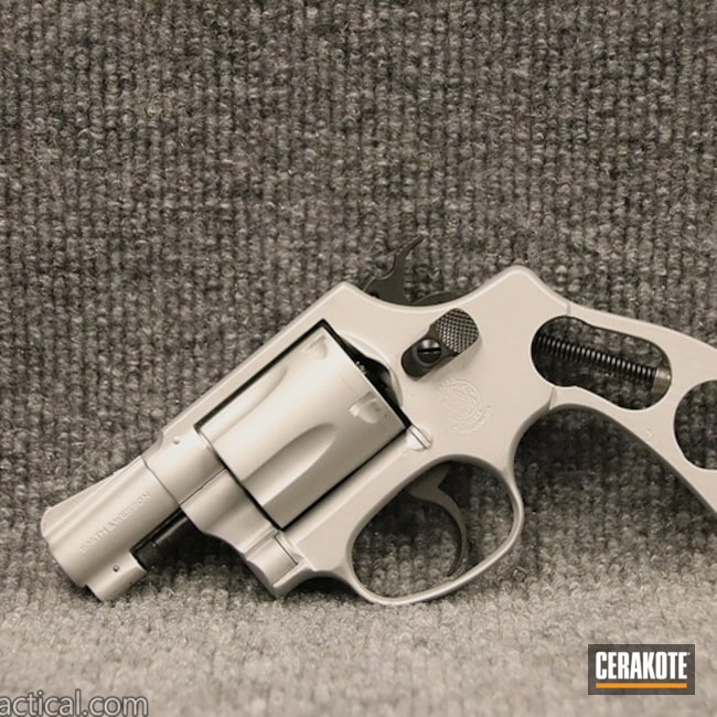 Cerakoted: SHOT,Smith & Wesson Model 37,Graphite Black H-146,Two Tone,Smith & Wesson,Revolver,Satin Aluminum H-151,Gun Coatings