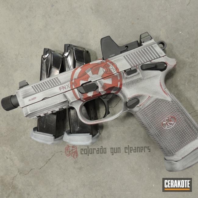 Cerakoted: S.H.O.T,Hidden White H-242,FN Mfg.,FIREHOUSE RED H-216,FNX-45 Tactical,Graphite Black H-146,Distressed,Pistol,Star Wars Theme,Gun Coatings,Theme,Star Wars