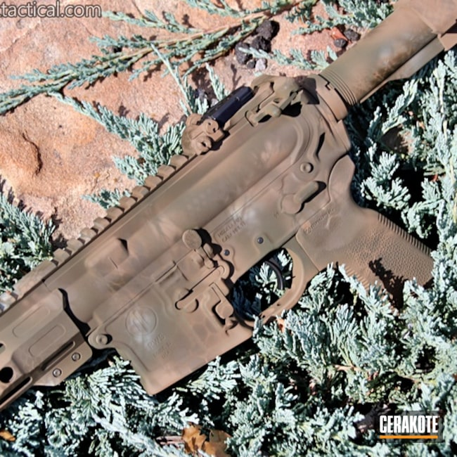 Thumbnail version of the 4th project picture. Custom Camo, AR-15, Tactical Rifle, PWS, SHOT, Desert Sand H-199Q, Patriot Brown H-226Q, Benelli Sand H-143Q, Mud Brown H-225Q, Gun Coatings