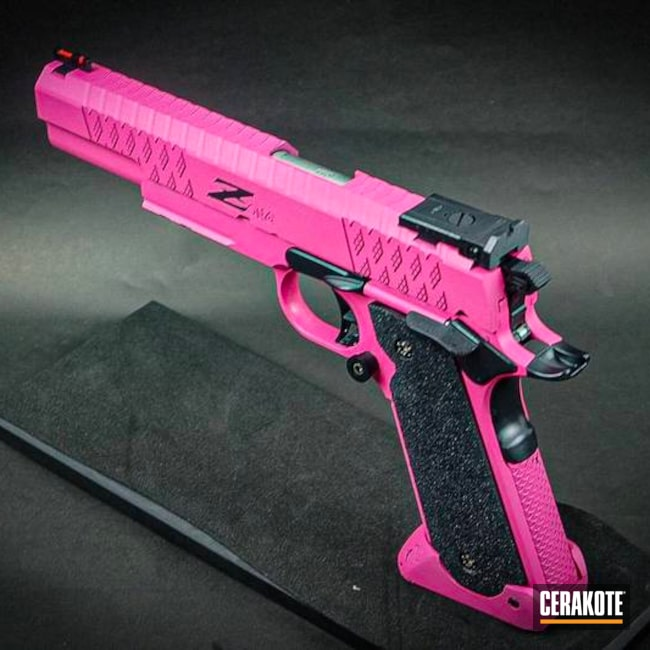 Two Toned Handgun with Cerakote Sig Pink and Midnight Blue