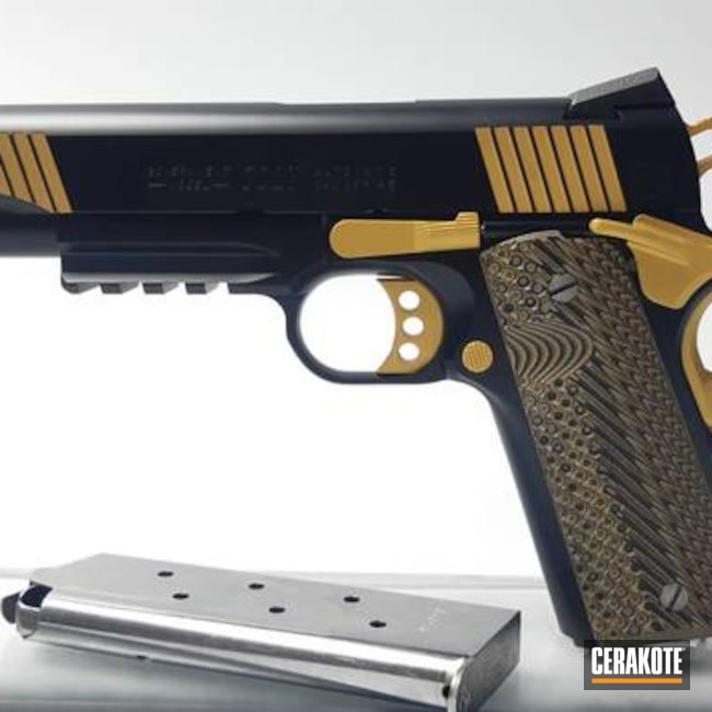 Two Toned Colt 1911 with Cerakote Gold and Midnight Blue