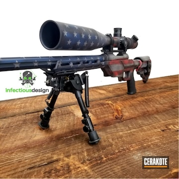 Cerakoted Savage Arms Bolt Action Rifle With Cerakote American Flag Coating