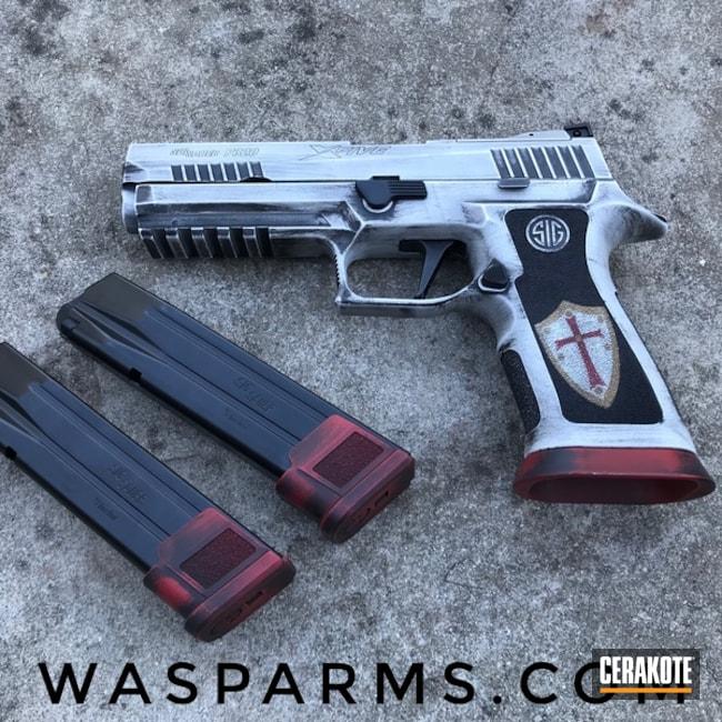Cerakoted: S.H.O.T,Custom Theme,Knights Templar,Sig Sauer,Sig,Sig Pistol,Bright White H-140,9mm,Sig Sauer P320,FIREHOUSE RED H-216,Custom,Graphite Black H-146,Gun Coatings,Custom Cerakote