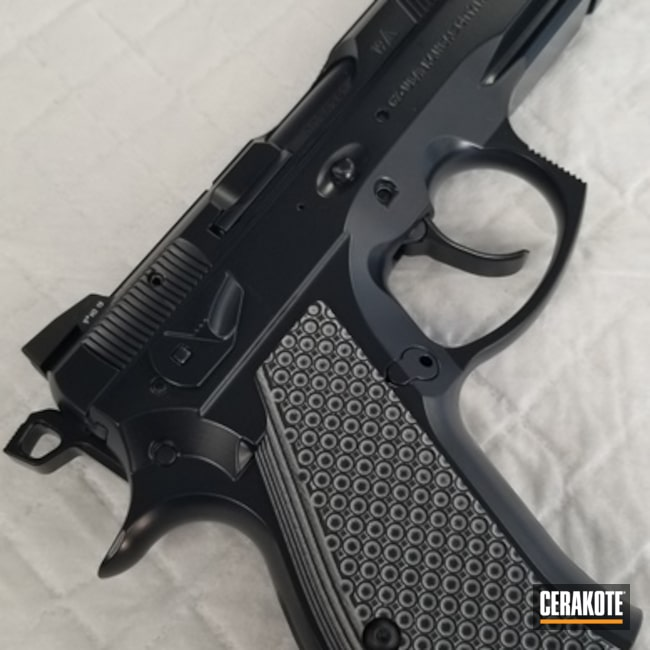 Cerakoted: S.H.O.T,9mm,Midnight E-110,CZ 75,Pistol,CZ,Gun Coatings,Solid Color