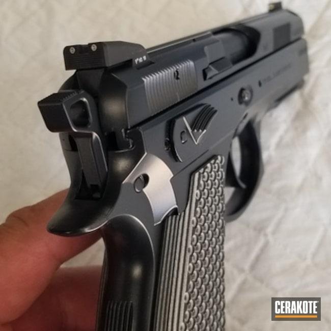 Cerakoted: S.H.O.T,9mm,Midnight E-110,CZ 75,Pistol,CZ,Gun Coatings,Solid Color