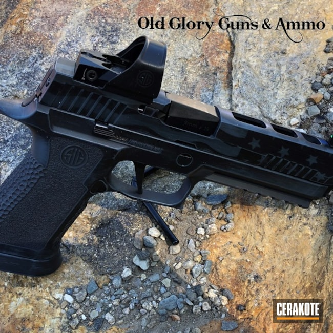 Cerakoted Sig Sauer X5 Handgun With A Thin Blue Line American Flag Finish