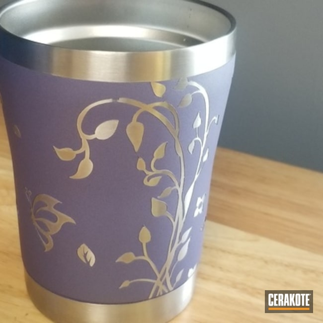 Cerakoted Tumbler Cup With Cerakote H-314 Crushed Orchid
