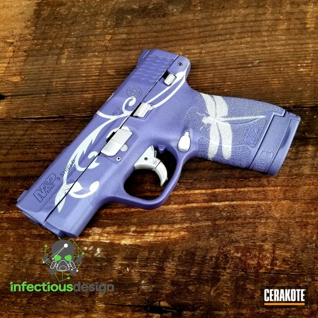 Smith & Wesson Handgun Cerakoted with Satin Aluminum and Crushed Orchid